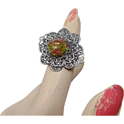 Adjustable Filigree Ring w Czech Glass Bead