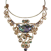 Abalone and Cultured Freshwater Pearl Necklace