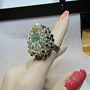 Adjustable Blue Glass Ring w Cultured Freshwater Pearls n Black Rhinestones