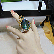 Sculpted Jeweler's Brass and 14KGF Adjustable Ring with Large Blue AB and Rhinestones