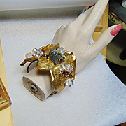 Mixed Metal Bracelet w Pyrite, Garnets and Czech Glass Crystals