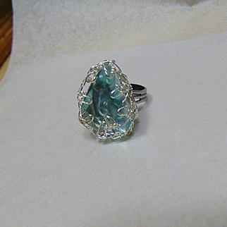 Blue Glass Adjustable Ring