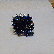 Amethyst, Hematite n Black Rhinestone on Sterling Silver Adjustable Ring