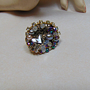 14KGF Wire Wrapped Adjustable Ring w Czech Glass Crystals n Cultured Freshwater Pearls