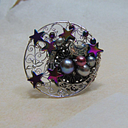 Moon with Stars Adjustable Ring
