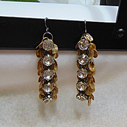 Rhinestone and Gold Plated Dangle Earrings on Niobium Ear Wires.