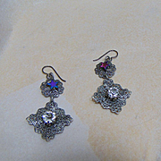 Steel Filigree w Rhinestone n Hematite on Niobium Earrings