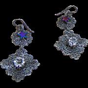 Steel Filigree w Rhinestone n Hematite on Niobium Earrings
