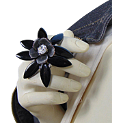 Mixed Metal with Black Glass n Rhinestone Adjustable Ring