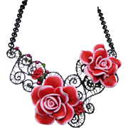 Pink Roses on the Trellis Necklace