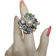 Adjustable Crystal Cultured Freshwater Ring in Green, White and Gray