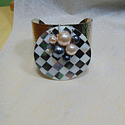 Harlequin Shell Inlay Cuff w Labradorite, Cultured and Swarovski Pearls