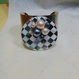 Harlequin Shell Inlay Cuff w Labradorite, Cultured and Swarovski Pearls