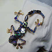 Mixed Metal Lizard Pin Bejeweled