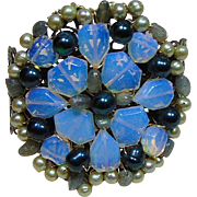Opal Glass n Cultured Freshwater Pearl Cuff Bracelet
