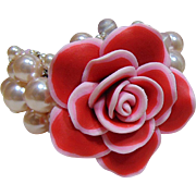 Poly Clay Pink Rose n Faux Pearls on Steel Cuff Bracelet