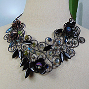 Annealed Steel n Blackened Brass w labradorite n Chrysoprase Bib Necklace