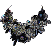 Annealed Steel n Blackened Brass w labradorite n Chrysoprase Bib Necklace