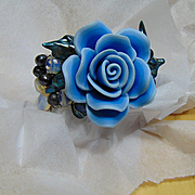 Blue Polymer Rose w Cultured Freshwater Pearls Bracelet