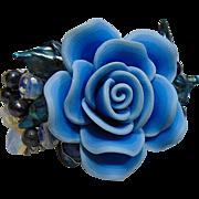 Blue Polymer Rose w Cultured Freshwater Pearls Bracelet