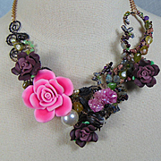 Lizard Among the Roses Necklace