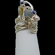 Sterling Silver Layer Ring w Labradorite