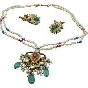 Seed Pearls, Emeralds and Ruby Indian Jewelry Set w Screw back Earrings.