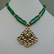 India Made Enameled w Crystal and Seed Pearls on Emerald Necklace w jhumka Earrings Set