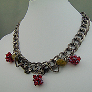 Mixed Metal Necklace w Swarovski and Garnets