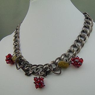Mixed Metal Necklace w Swarovski and Garnets