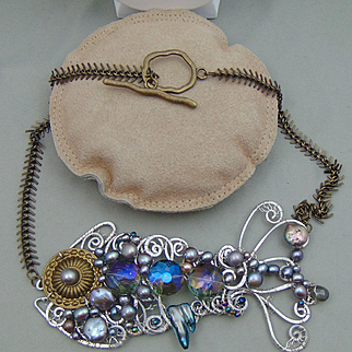 Mixed Metal Fish Necklace w Crystals and Cultured Freshwater Pearls