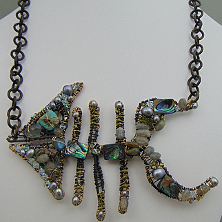 Modernist Fish Necklace of Sculpted Steel and 14KGF, Bejeweled.