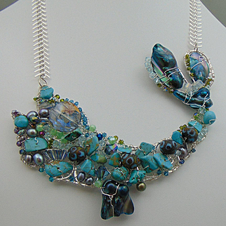 Sterling Silver Fish Necklace w Turquoise, Crystals and Cultured Freshwater Pearls