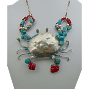 MIxed Metal Crab Necklace w Turquoise n Coral Bejeweled