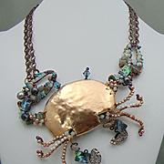 Crab Necklace of Bronze n Annealed Steel Encrusted Bejeweled
