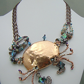 Crab Necklace of Bronze n Annealed Steel Encrusted Bejeweled