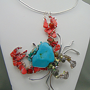 Sculpted Crab Necklace with Turquoise n Coral