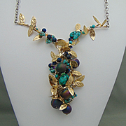 Sterling Silver Sculpted Mixed Media Necklace