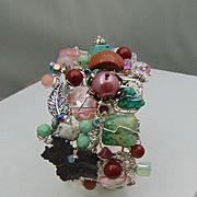 Mixed Metal Bracelet w Turquoise, Czech Glass and Swarovski Crystals