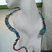 Mixed Metal Draped Snake Necklace Bejeweled