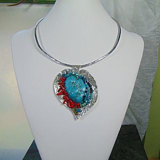 Hammered Sterling w Turquoise n Red Coral Heart Pendant Necklace