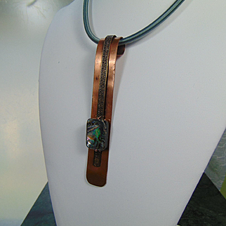 Copper and Brass with Abalone on Silk Cord Necklace
