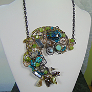 Mixed Metal Labradorite 'Eyed' Fish Bejeweled Necklace