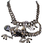 Mixed Metal Biker Lizard Necklace