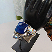Cuff w Blue Agate, Abalone and Czech Glass Crystals