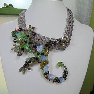 Bejeweled Lizard on Greek Key Necklace