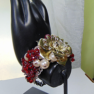 Mixed Metal Bracelet w Swarovski Crystals and Crystal Pearls.