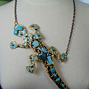 Enameled Brass Lizard Necklace w Turquoise