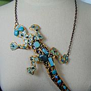 Enameled Brass Lizard Necklace w Turquoise