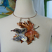 Mixed Media Butterfly on Maple Leaf Necklace